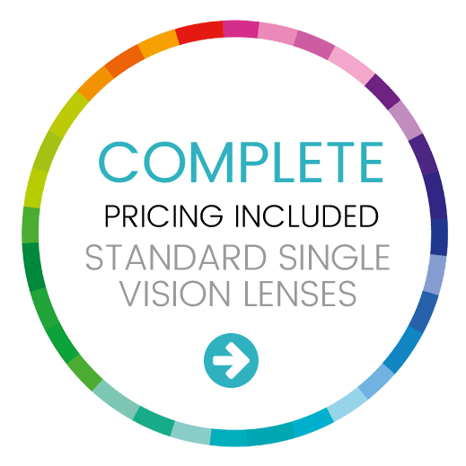 Complete pricing included standard single vision lenses