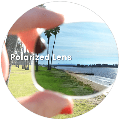 Polarized lens effect in sunshine